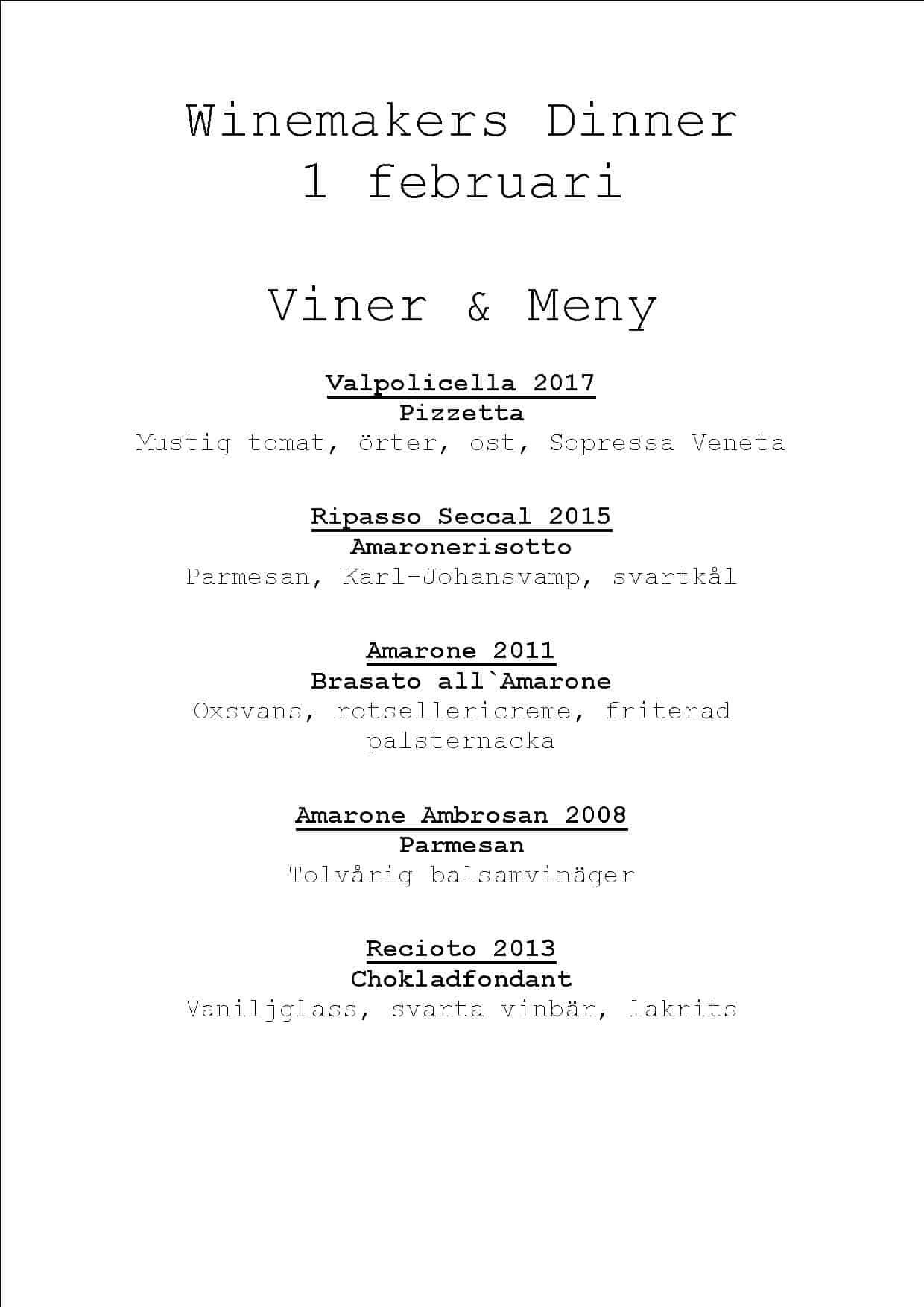 winemakers dinner meny